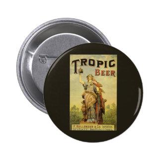 Etiqueta del producto del vintage, cerveza pin redondo 5 cm