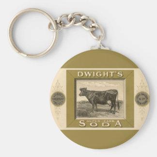 Etiqueta del producto del vintage, la soda con llavero redondo tipo pin