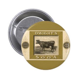 Etiqueta del producto del vintage, la soda con pin redondo de 2 pulgadas