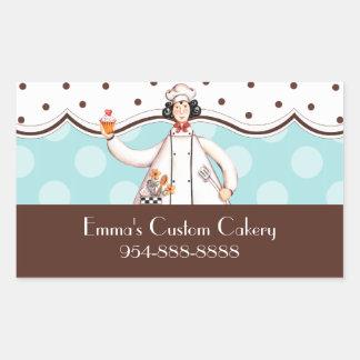 Etiqueta del rectángulo del chica del cocinero -