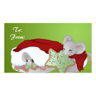 Etiqueta del regalo de 2 ratones del navidad tarjeta de negocio