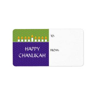 Etiqueta del regalo de Chanukah Menorah Etiquetas De Dirección