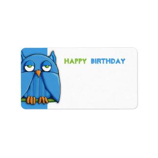 Etiqueta del regalo de cumpleaños de la aguamarina etiqueta de dirección