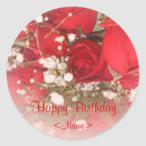 Etiqueta del regalo de cumpleaños de los rosas