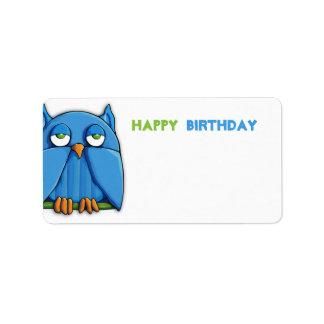 Etiqueta del regalo de cumpleaños del búho de la etiquetas de dirección