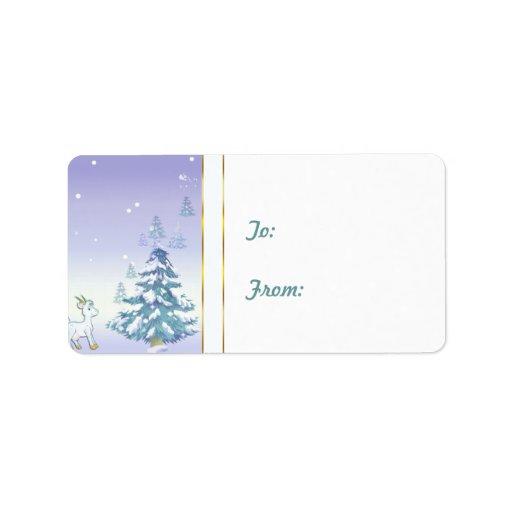 Etiqueta del regalo de la cabra del navidad   de l etiquetas de dirección