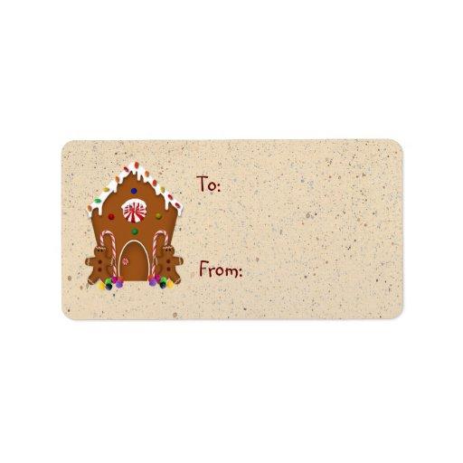 Etiqueta del regalo de la casa de pan de jengibre etiquetas de dirección