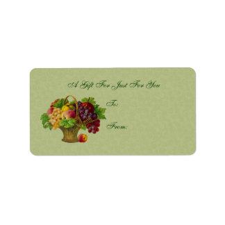 Etiqueta del regalo de la cesta de fruta del arte etiqueta de dirección