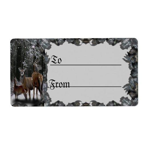 Etiqueta del regalo de la familia de los ciervos d etiquetas de envío