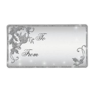 Etiqueta del regalo de la paloma de la plata etiqueta de envío