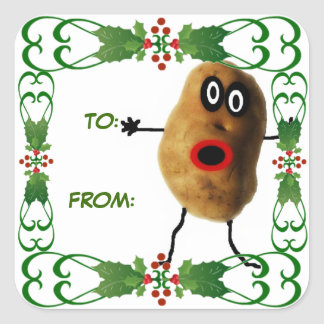 Etiqueta del regalo de la patata del navidad