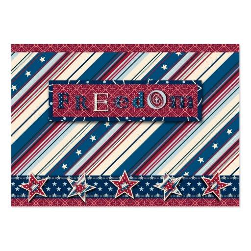 Etiqueta del regalo de la raya de la libertad tarjetas de visita grandes