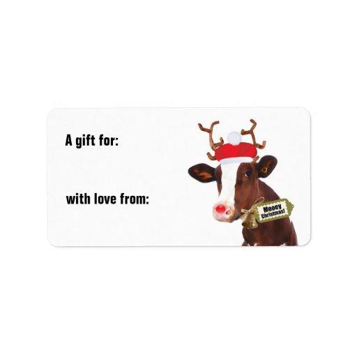 Etiqueta del regalo de la vaca del reno de las Fel Etiqueta De Dirección