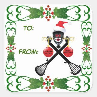Etiqueta del regalo de LaCrosse del navidad