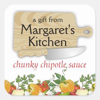 Etiqueta del regalo de las verduras del cuchillo d