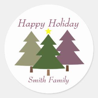 Etiqueta del regalo de los árboles de navidad con