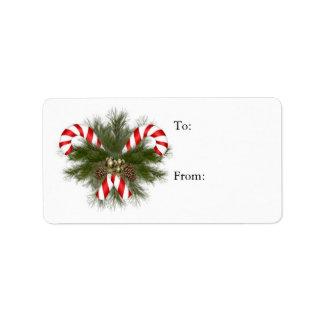 Etiqueta del regalo de los bastones de caramelo etiqueta de dirección