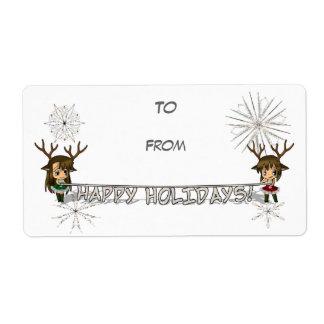 Etiqueta del regalo de los ciervos de Chibi Etiqueta De Envío