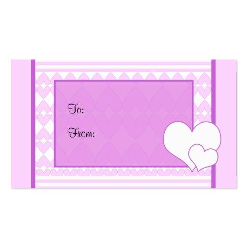 Etiqueta del regalo de los corazones tarjetas de visita