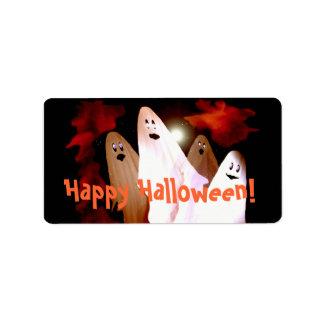 Etiqueta del regalo de los fantasmas de Halloween Etiqueta De Dirección