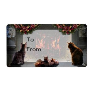 Etiqueta del regalo de los gatitos del solsticio