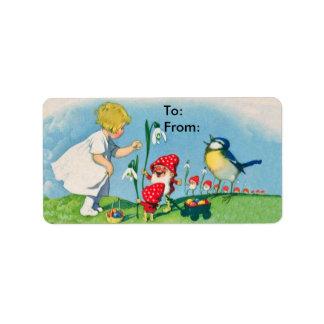 Etiqueta del regalo de los huevos de los duendes etiqueta de dirección