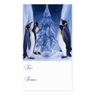 Etiqueta del regalo de los pingüinos tarjetas de visita