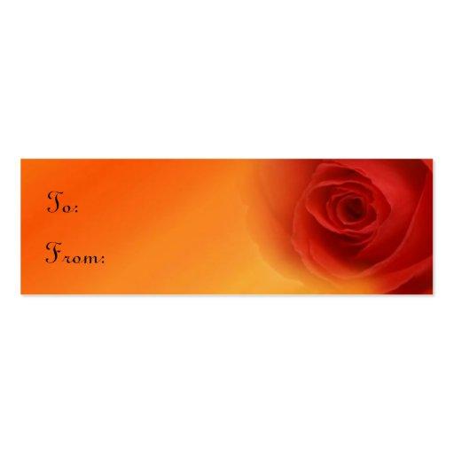 Etiqueta del regalo de los rosas rojos tarjetas de visita mini