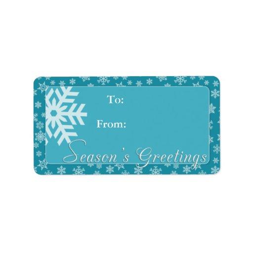 Etiqueta del regalo de los saludos de la estación  etiqueta de dirección
