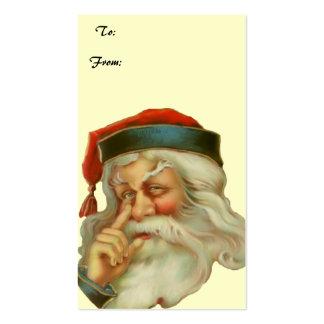 Etiqueta del regalo de Papá Noel del vintage Tarjetas De Visita