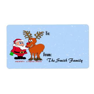 Etiqueta del regalo de Santa y de Rudolph (grande) Etiqueta De Envío