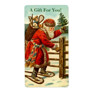 Etiqueta del regalo de Snowshoeing Santa del Etiqueta De Envío