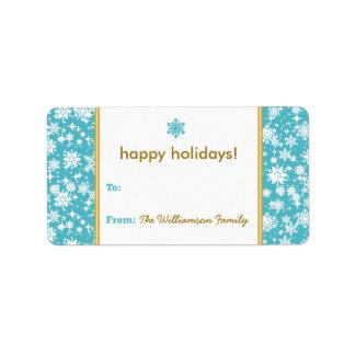 Etiqueta del regalo de vacaciones de la nieve que etiqueta de dirección