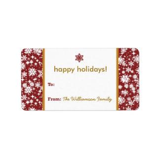 Etiqueta del regalo de vacaciones de la nieve que  etiquetas de dirección
