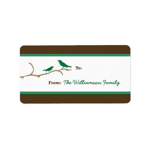 Etiqueta del regalo de vacaciones de los pájaros d etiqueta de dirección