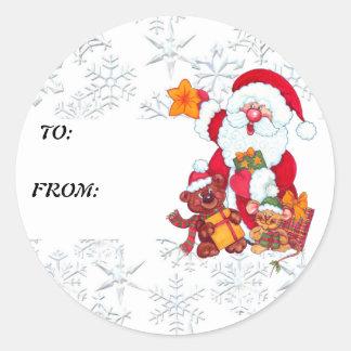 Etiqueta del regalo de vacaciones de Santa del