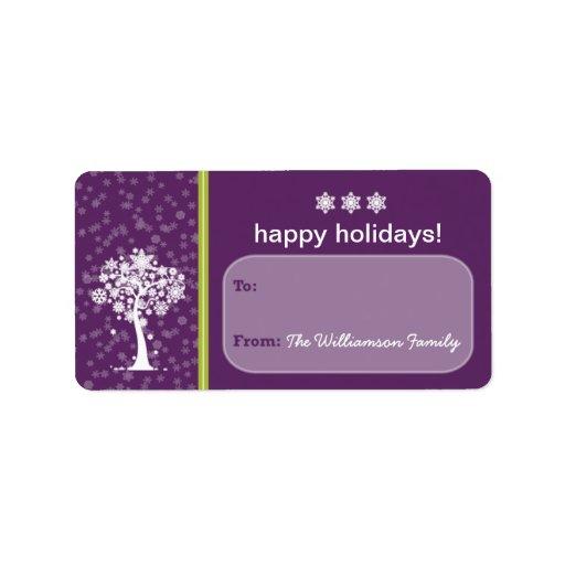 Etiqueta del regalo de vacaciones del árbol del co etiquetas de dirección