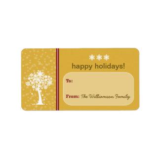 Etiqueta del regalo de vacaciones del árbol del etiqueta de dirección
