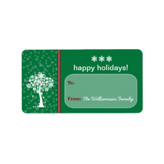 Etiqueta del regalo de vacaciones del árbol del etiquetas de dirección