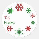 Etiqueta del regalo de vacaciones del copo de niev