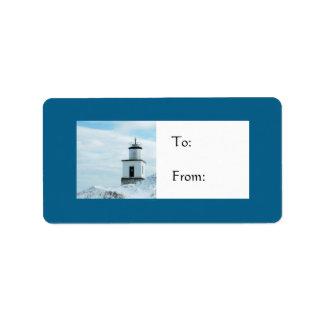 Etiqueta del regalo de vacaciones del faro Nevado Etiquetas De Dirección