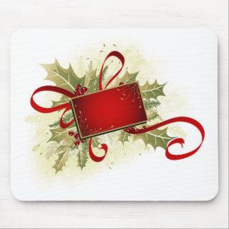 Etiqueta del regalo de vacaciones del navidad con  tapetes de raton