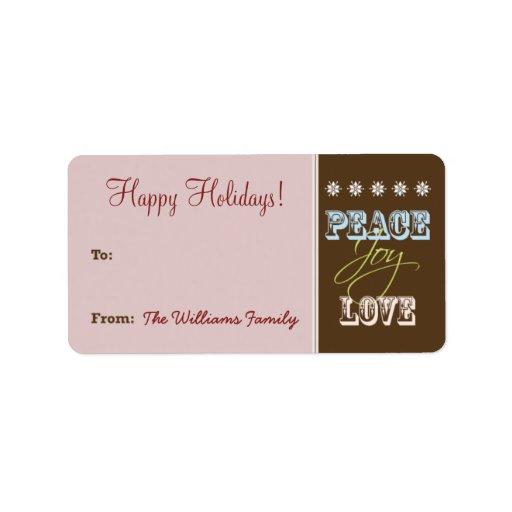 Etiqueta del regalo de vacaciones del Paz-Alegría- Etiquetas De Dirección