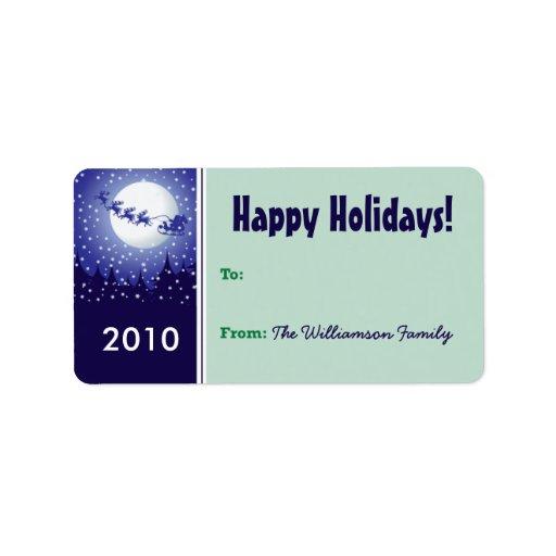 Etiqueta del regalo de vacaciones del trineo de Sa Etiquetas De Dirección