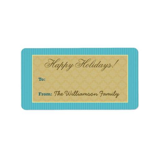 Etiqueta del regalo de vacaciones del Victorian de Etiquetas De Dirección