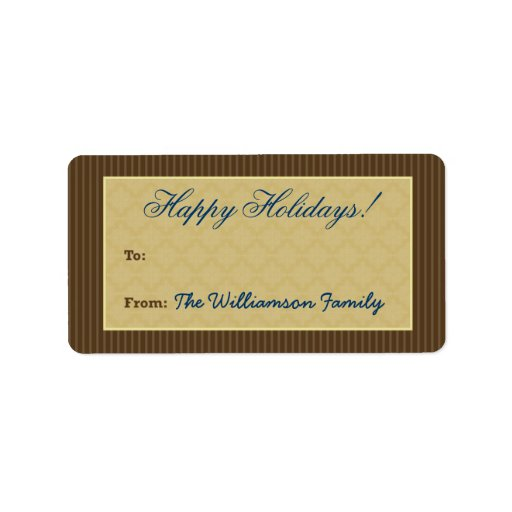 Etiqueta del regalo de vacaciones del Victorian de Etiqueta De Dirección