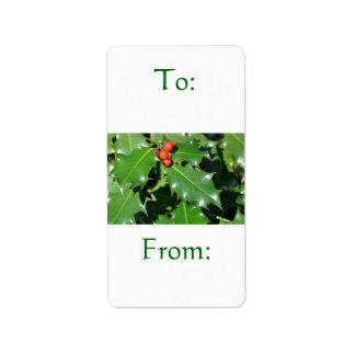 Etiqueta del regalo del acebo etiquetas de dirección