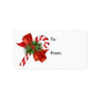 Etiqueta del regalo del bastón de caramelo - etiquetas de dirección