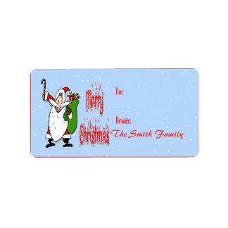 Etiqueta del regalo del bolso de Santa y del jugue Etiqueta De Dirección