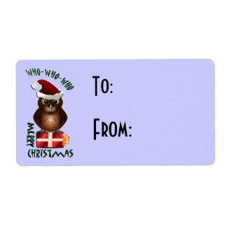 Etiqueta del regalo del búho de Santa del navidad Etiquetas De Envío